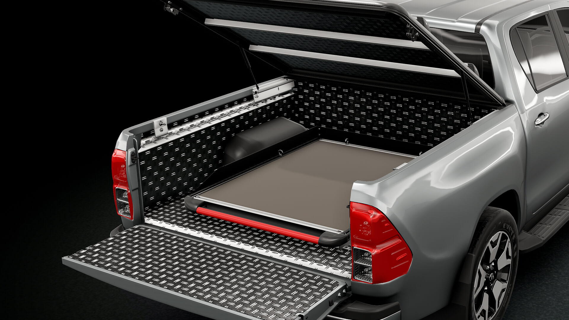 Mountain Top Cargo Slide and Alu Bedliner for maximum protection of your pickup truck
